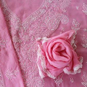 Lucknow Chikankari Hand Embroidered Flamingo Cotton Dress Material Set 2