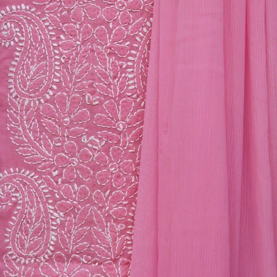 Lucknow Chikankari Hand Embroidered Flamingo Cotton Dress Material Set 3