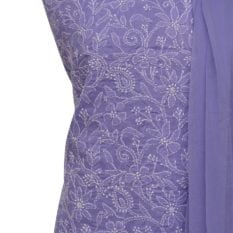 Lucknow Chikankari Hand Embroidered Lavender Cotton Dress Material Set A1