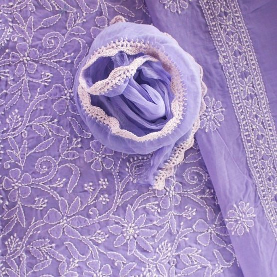 Lucknow Chikankari Hand Embroidered Lavender Cotton Dress Material Set A2