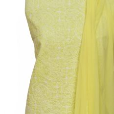Lucknow Chikankari Hand Embroidered Lemon Cotton Dress Material Set 1