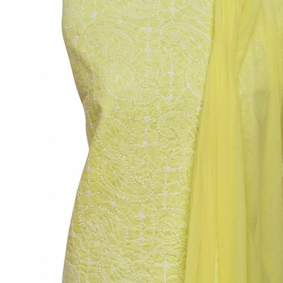 Lucknow Chikankari Hand Embroidered Lemon Cotton Dress Material Set 1