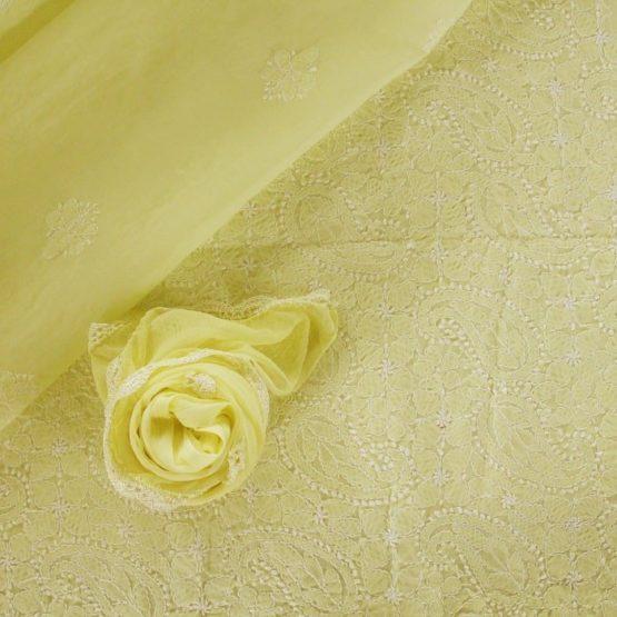 Lucknow Chikankari Hand Embroidered Lemon Cotton Dress Material Set 2