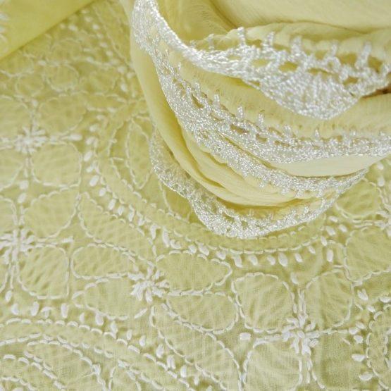 Lucknow Chikankari Hand Embroidered Lemon Cotton Dress Material Set 3