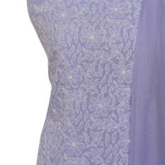 Lucknow Chikankari Hand Embroidered Light Purple Cotton Dress Material Set 1