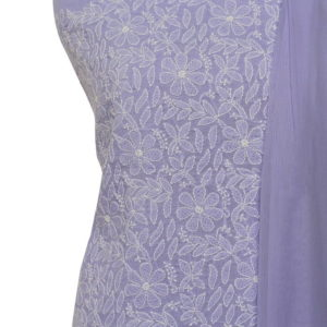 Lucknow Chikankari Hand Embroidered Light Purple Cotton Dress Material Set 1