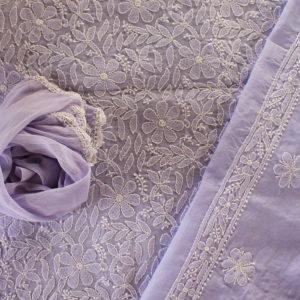 Lucknow Chikankari Hand Embroidered Light Purple Cotton Dress Material Set 2