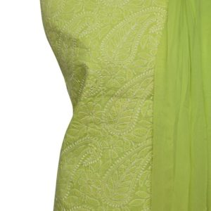 Lucknow Chikankari Hand Embroidered Lime Green Cotton Dress Material Set 1