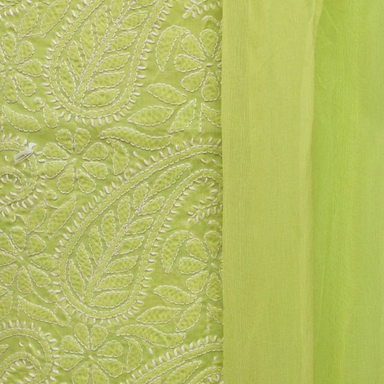 Lucknow Chikankari Hand Embroidered Lime Green Cotton Dress Material Set 3