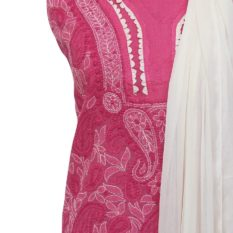 Lucknow Chikankari Hand Embroidered Magenta Cotton Dress Material Set 1