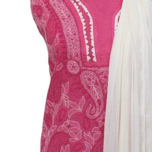 Lucknow Chikankari Hand Embroidered Magenta Cotton Dress Material Set 1