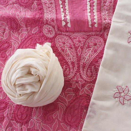 Lucknow Chikankari Hand Embroidered Magenta Cotton Dress Material Set 2