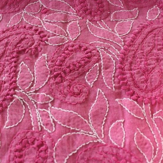 Lucknow Chikankari Hand Embroidered Magenta Cotton Dress Material Set 4