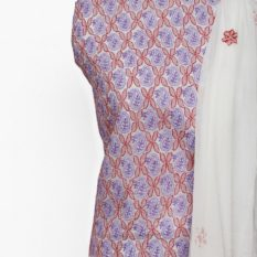Lucknow Chikankari Hand Embroidered Off-White Network Pattern Cotton Dress Material Set 1