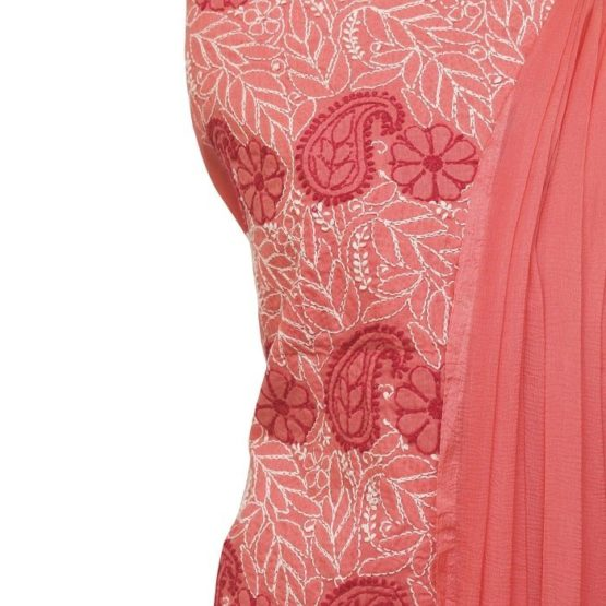 Lucknow Chikankari Hand Embroidered Peach Cotton Dress Material Set A1