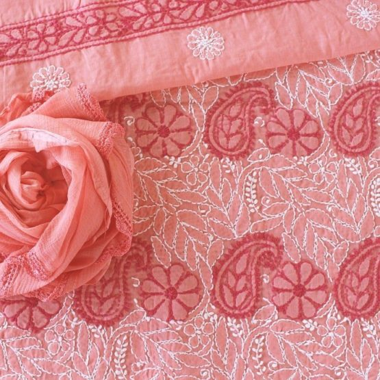 Lucknow Chikankari Hand Embroidered Peach Cotton Dress Material Set A2