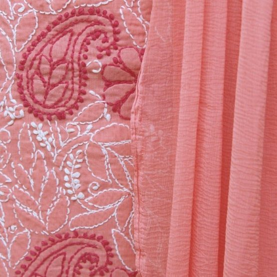 Lucknow Chikankari Hand Embroidered Peach Cotton Dress Material Set A3