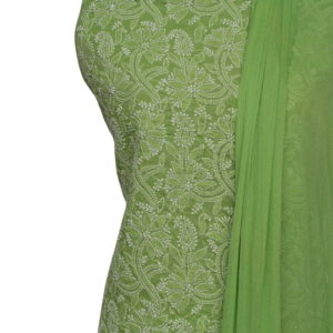 Lucknow Chikankari Hand Embroidered Pear Green Cotton Dress Material Set A1