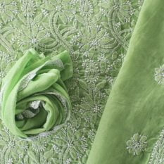 Lucknow Chikankari Hand Embroidered Pear Green Cotton Dress Material Set A2