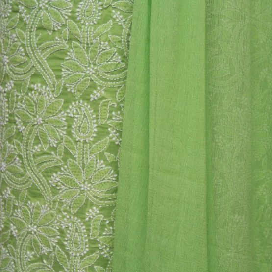 Lucknow Chikankari Hand Embroidered Pear Green Cotton Dress Material Set A3