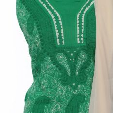 Lucknow Chikankari Hand Embroidered Persian Green Cotton Dress Material Set 1