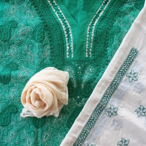 Lucknow Chikankari Hand Embroidered Persian Green Cotton Dress Material Set 2