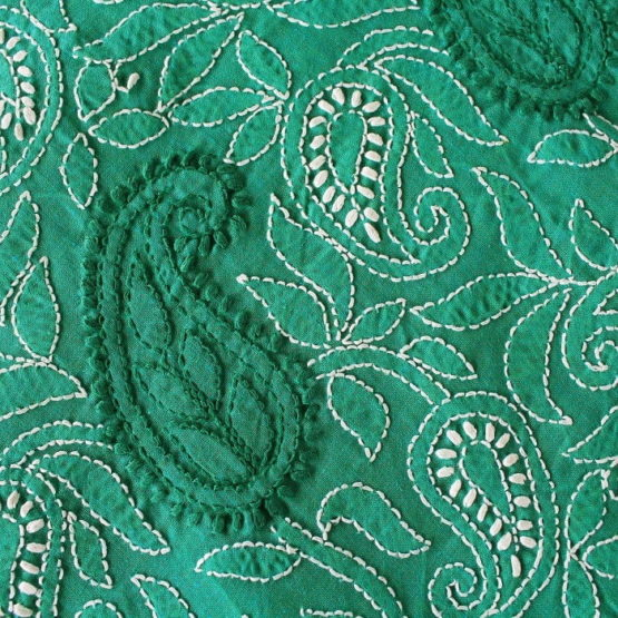 Lucknow Chikankari Hand Embroidered Persian Green Cotton Dress Material Set 3