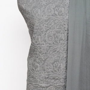 Lucknow Chikankari Hand Embroidered Pewter Cotton Dress Material Set 1