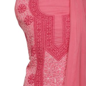 Lucknow Chikankari Hand Embroidered Rose Pink Cotton Dress Material Set A1