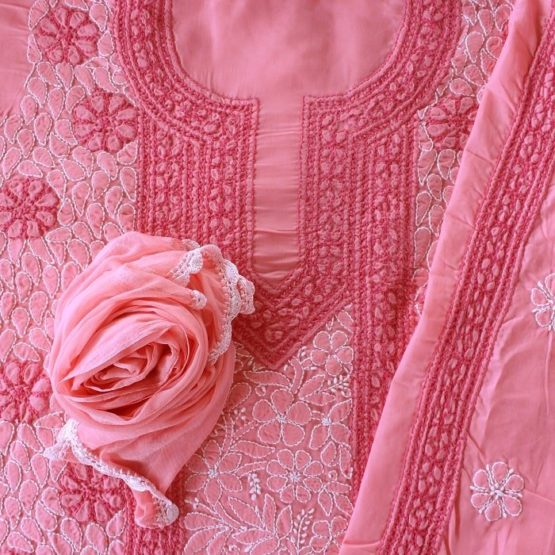Lucknow Chikankari Hand Embroidered Rose Pink Cotton Dress Material Set A2