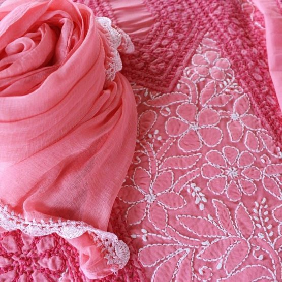 Lucknow Chikankari Hand Embroidered Rose Pink Cotton Dress Material Set A3