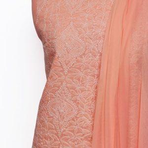 Lucknow Chikankari Hand Embroidered Salmon Cotton Dress Material Set 1