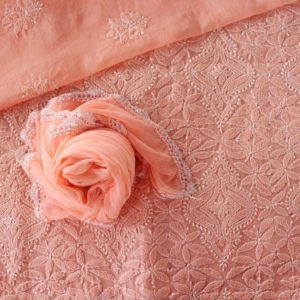 Lucknow Chikankari Hand Embroidered Salmon Cotton Dress Material Set 2