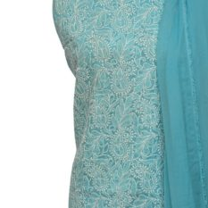 Lucknow Chikankari Hand Embroidered Sapphire Blue Cotton Dress Material Set 1