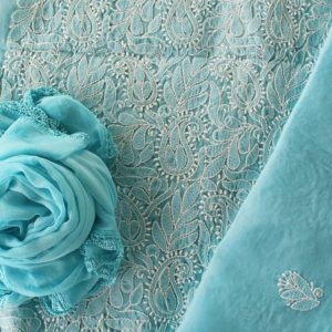 Lucknow Chikankari Hand Embroidered Sapphire Blue Cotton Dress Material Set 2