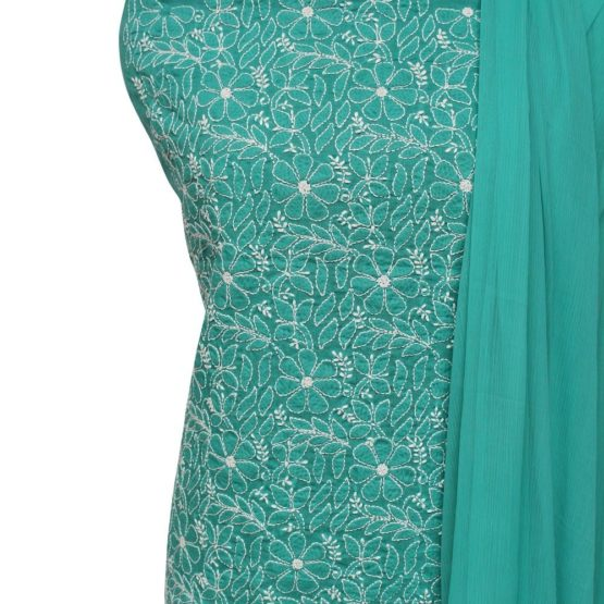 Lucknow Chikankari Hand Embroidered Teal Cotton Dress Material Set 1