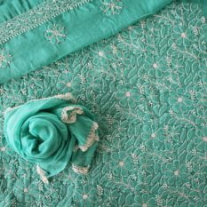 Lucknow Chikankari Hand Embroidered Teal Cotton Dress Material Set 2