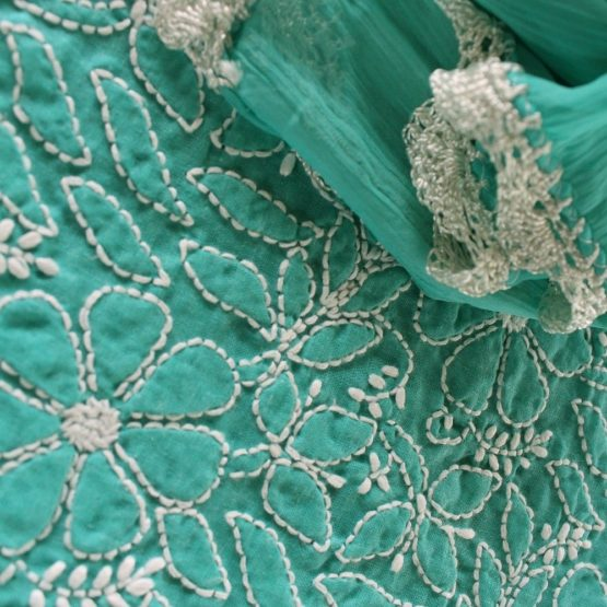 Lucknow Chikankari Hand Embroidered Teal Cotton Dress Material Set 3