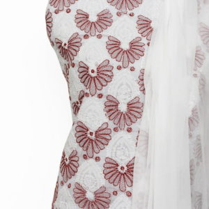 Lucknow Chikankari Hand Embroidered White Cotton Dress Material Set A1