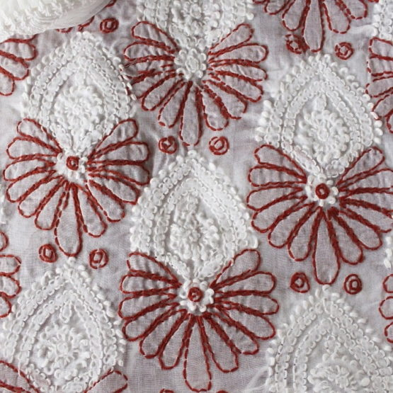 Lucknow Chikankari Hand Embroidered White Cotton Dress Material Set A3