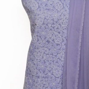 Lucknow Chikankari Hand Embroidered Wisteria Cotton Dress Material Set 1