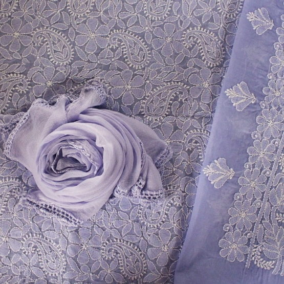 Lucknow Chikankari Hand Embroidered Wisteria Cotton Dress Material Set 2