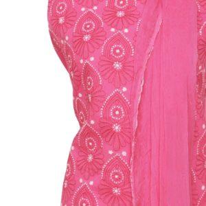 Lucknow Chikankari Pink Cotton Dress Material Set 1