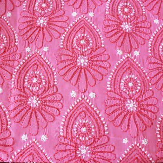 Lucknow Chikankari Pink Cotton Dress Material Set 3