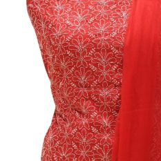 Lucknow Chikankari Red Cotton Dress Material Set 1