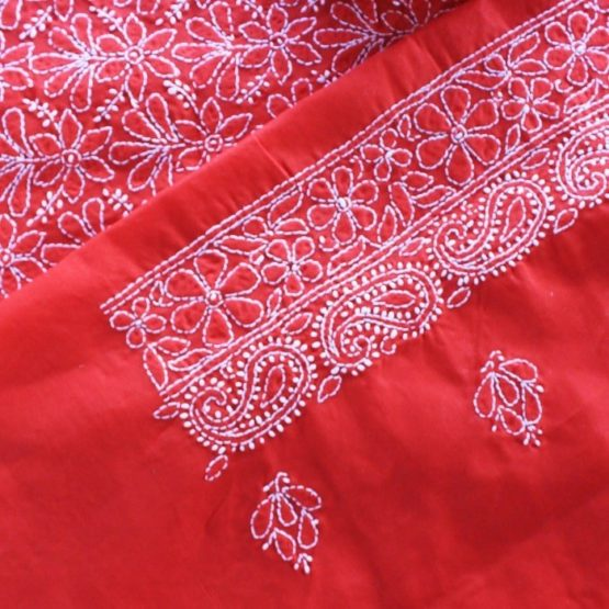 Lucknow Chikankari Red Cotton Dress Material Set 2