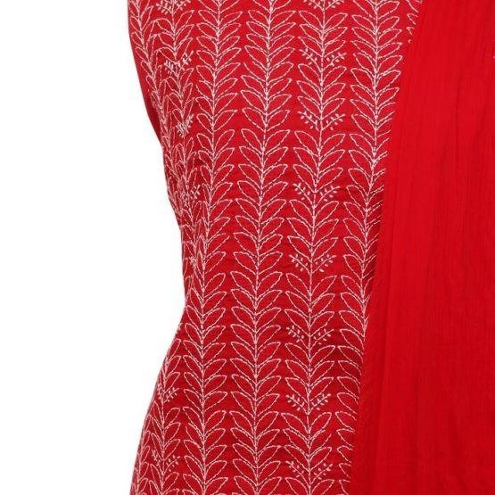 Lucknow Chikankari Red Motif Cotton Dress Material Set 1