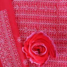 Lucknow Chikankari Red Motif Cotton Dress Material Set 2