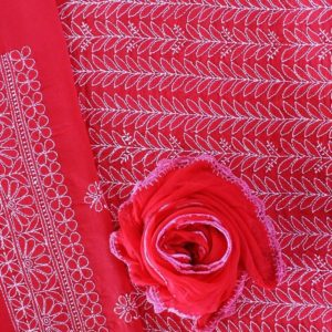 Lucknow Chikankari Red Motif Cotton Dress Material Set 2