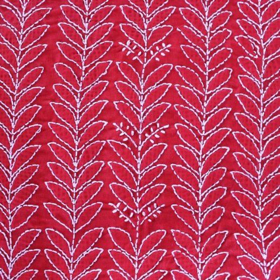 Lucknow Chikankari Red Motif Cotton Dress Material Set 4